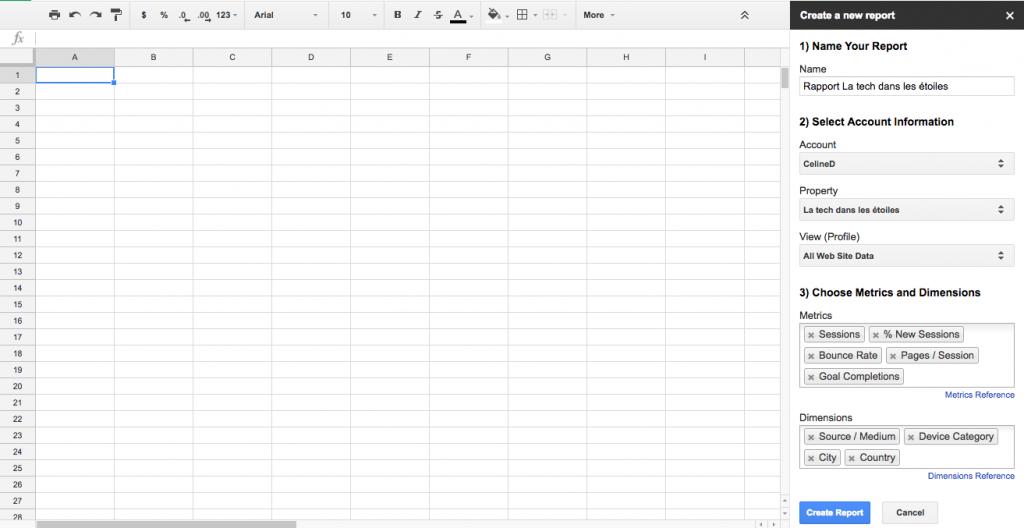 Comment créer son rapport Google Analytics dans Google Spreadsheet