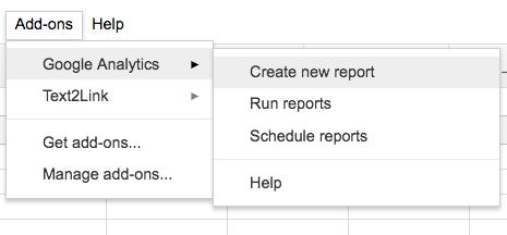 Comment créer un rapport avec l'add-on Google Analytics sur Spreadsheet
