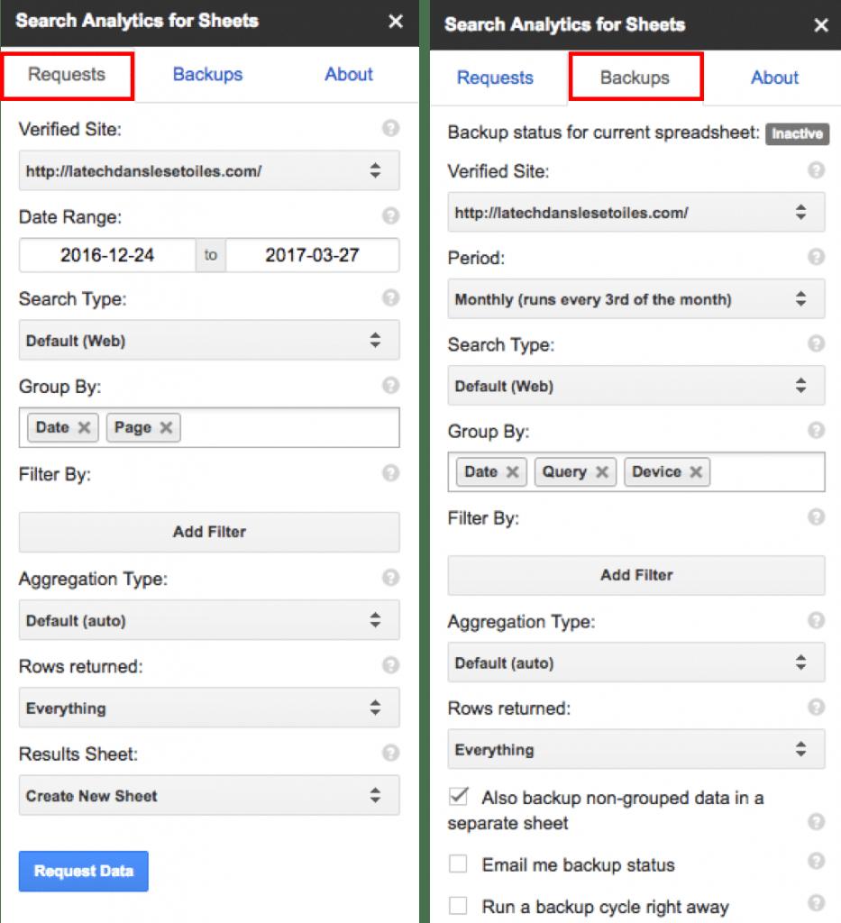 Avec l'add-on Google Analytics for Sheets, tu peux importer tes données de la Search Console dans une feuille de calcul.