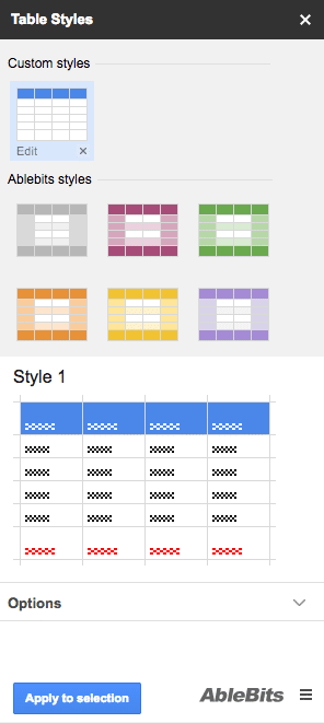 L'add-on Google Spreadhsheet gratuit Table Styles te permet de formatter facilement et rapidement tes tableaux.
