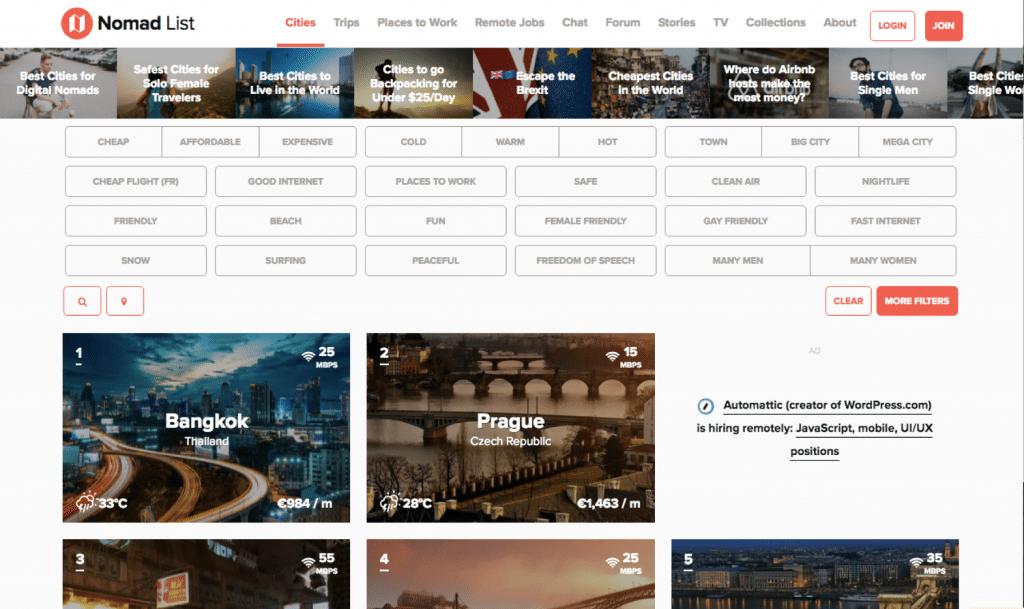 Nomadlist est le site de référence des nomades digitaux.