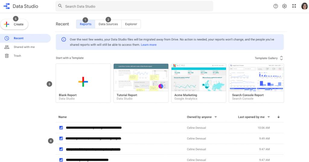 interface principale google data studio