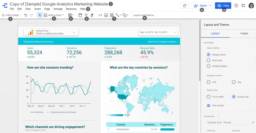 interface rapport google data studio