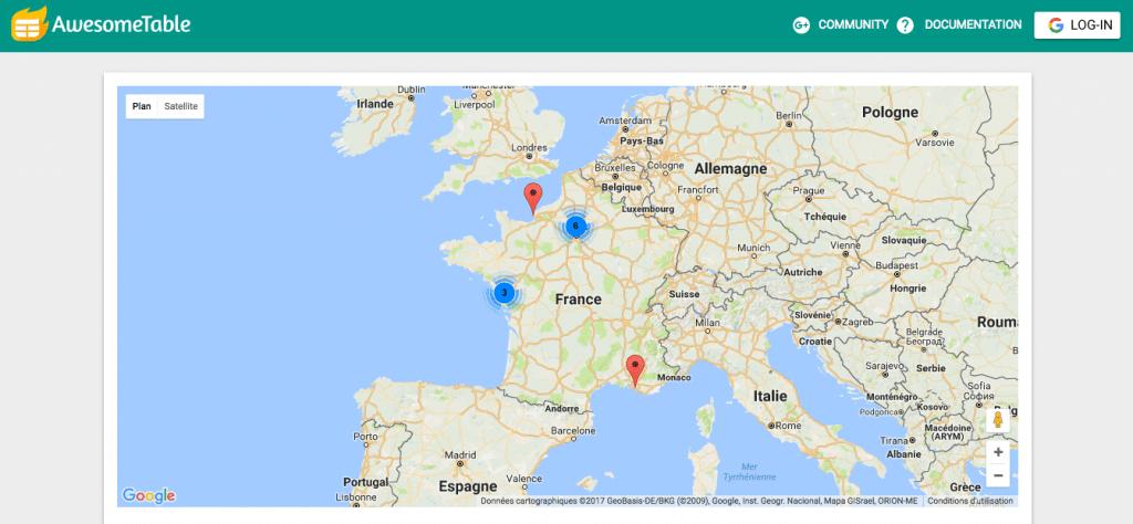 Geocode by Awesome Table placent tes adresses sur une carte en ligne.