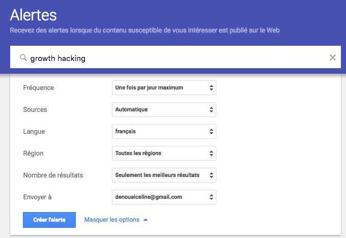 Uitilise les options pour paramétrer tes Google Alertes.