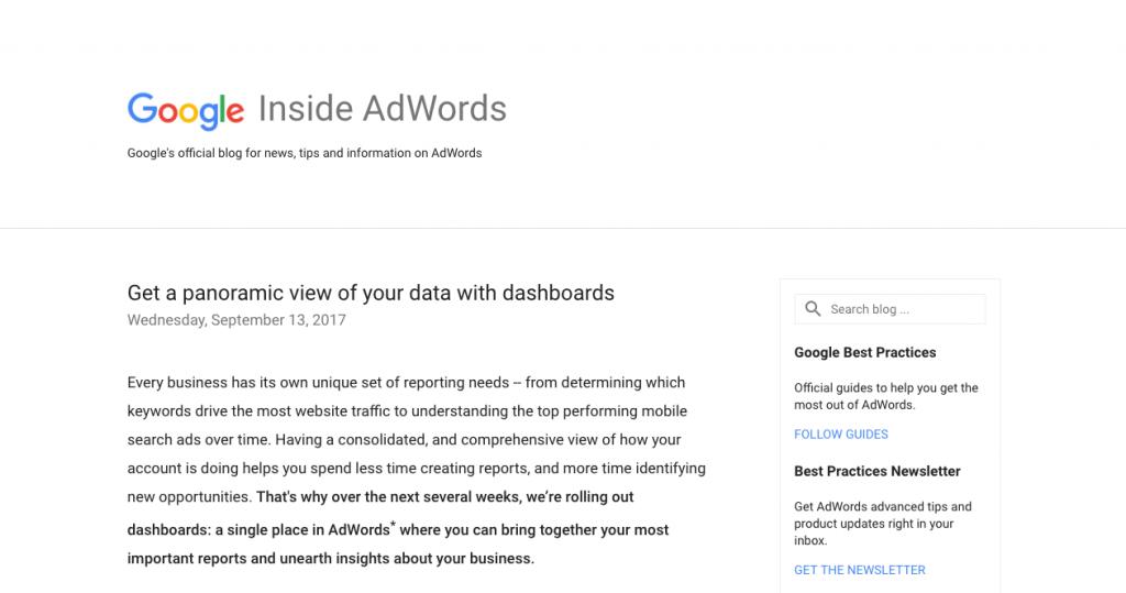 Le blog Inside Adwords