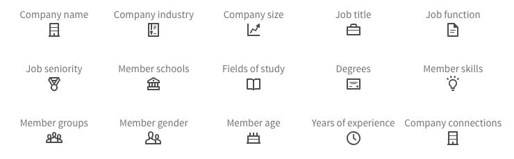 De multiples ciblages démographiques et professionnels sont possibles pour les publicités LinkedIn