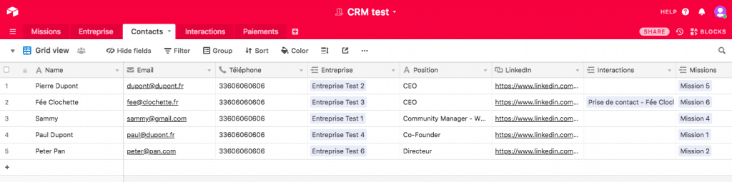 Airtable CRM - Contacts