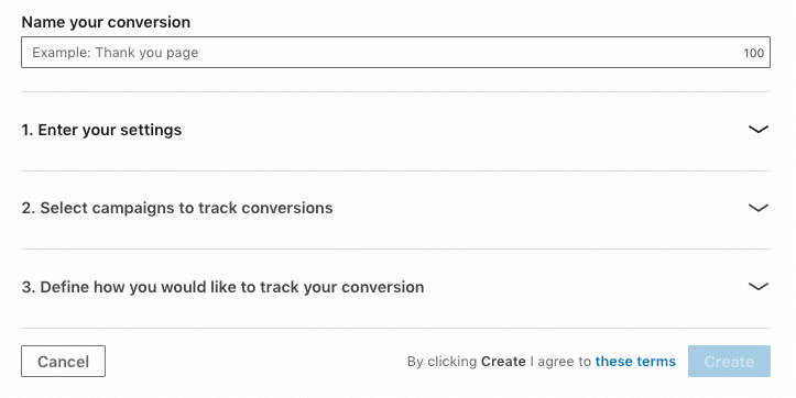 creation conversion linkedin ads