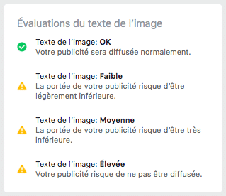 evaluation texte image facebook