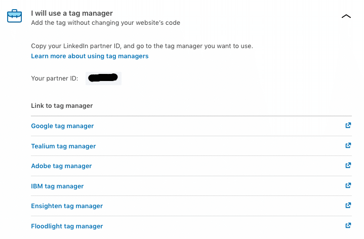 installation tag via tag manager