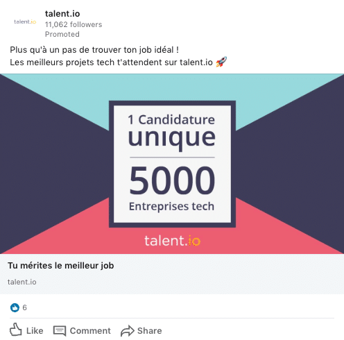 publicite talent.io linkedin ads
