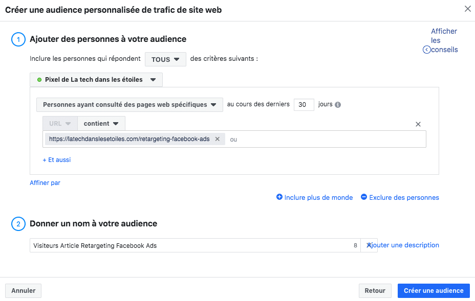 Audience Facebook Ads Visiteurs article
