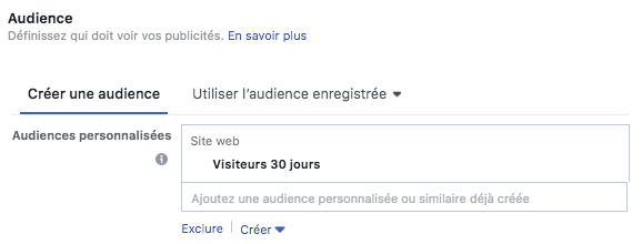 adset audience personnalisee retargeting visiteurs site