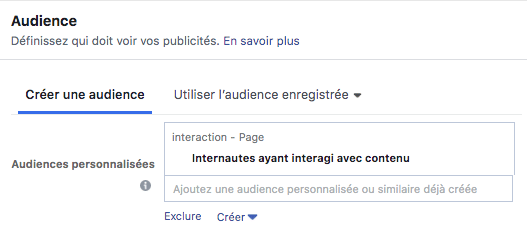 audience interaction contenu adset facebook ads