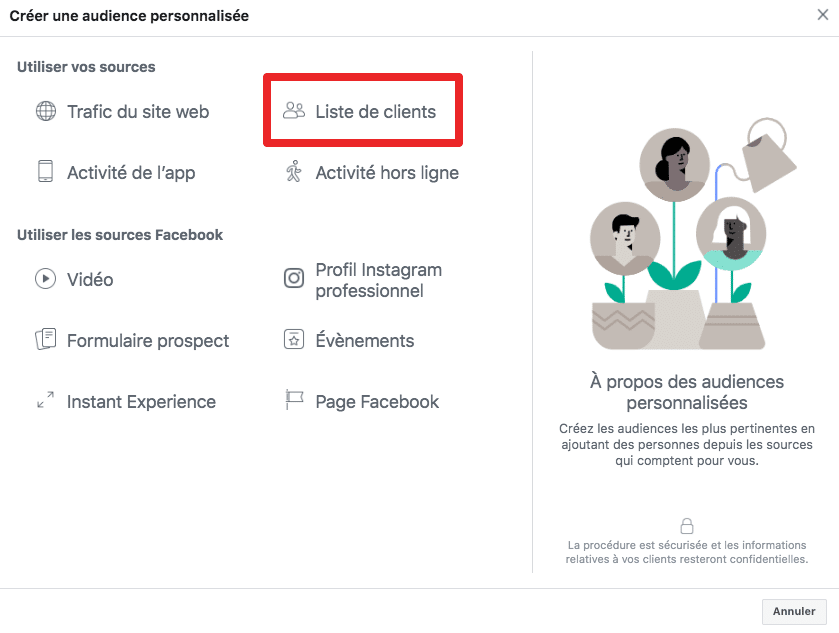 audience liste de clients facebook ads