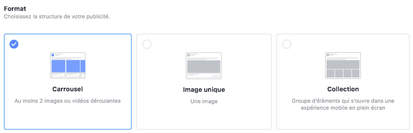 formats annonce vente catalogue facebook ads
