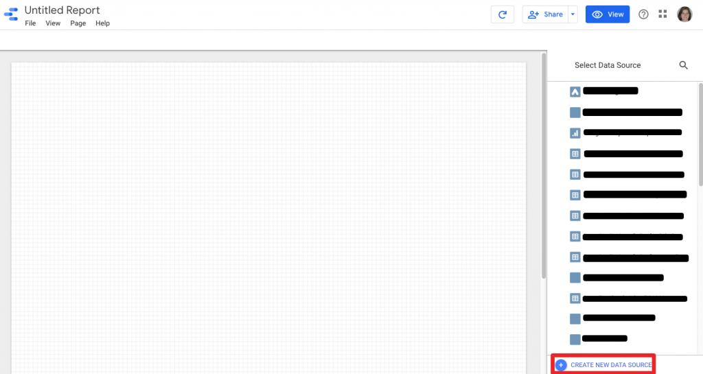 nouveau rapport google data studio