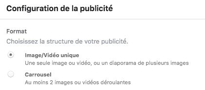 configuration publicite facebook