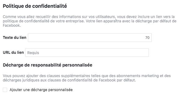 politique de confidentialité formulaire facebook