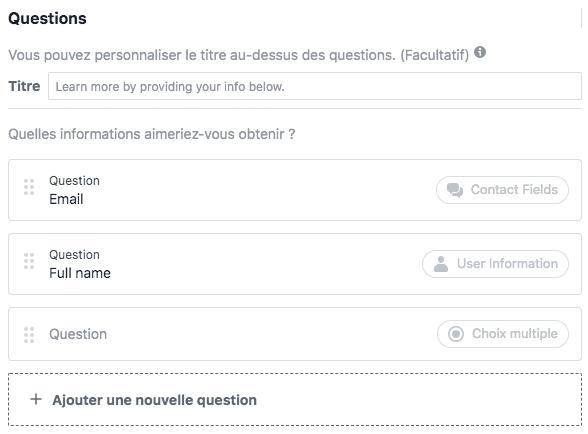 questions formulaire facebook